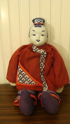 """Vintage Traditional Chinese Doll With Blue White Porcelain Head 17"""" tall"""