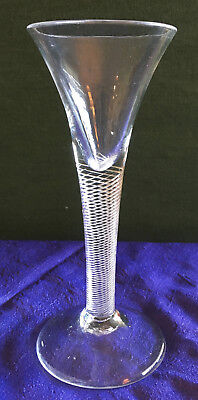 "Antique Georgian 18th c. 6.5"" Trumpet Bowl Wine Glass, Multiple Spiral Air Twist"