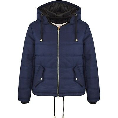 Kids Girls Jacket Navy Cropped Padded Puffer Bubble Hooded Warm Coats 5-13 Years