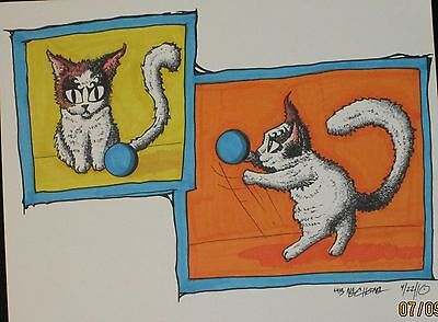 Kitten In Ink / Color Marker Drawing  Size 11*14