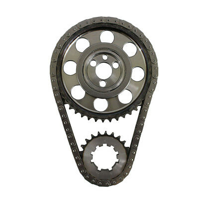 For Chevy SBC 350 Late Double Roller 9 Keyway Steel Timing Chain Kit(Brs/Brg) US