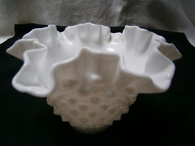 Vintage Fenton Ware Bobble Milk Glass Lollies Bowl With Crimped Scalloped Edge