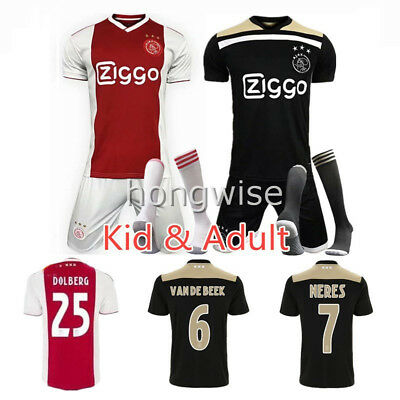 18-19 Home Red/ Away Black Football Kit Team Jersey Outfit Kids/ Adults Size New