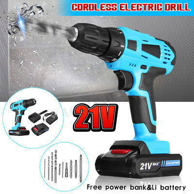 Meco 21V Cordless Drill Driver Set Combi Lithium Ion Screwdriver LED Worklight