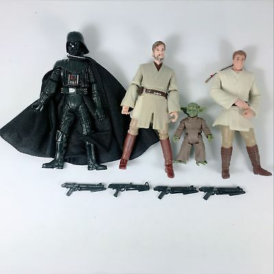 "4x Star Wars  Darth Maul YODA KENOBI OBIWAN 3.75"" Action Figures Boys Toy"
