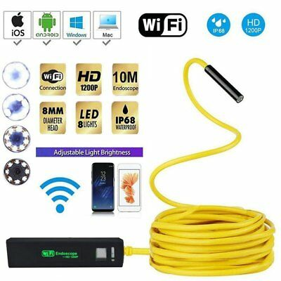 IP68 8 LED WIFI Endoscope Borescope Inspection 2MP HD Camera for Iphone Android