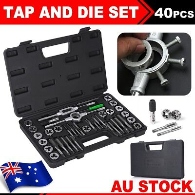 40Pcs Screw Screwdriver Thread Metric Tap and Die Set Wrench Hand Drill Tool AU