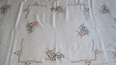 "Vintage Linen Hand Embroidered Tablecloth 53"" x 51"" Floral Pattern"