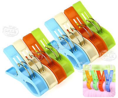 8PCS Large Size Clothespins Bright Color Plastic Quilted Beach Towel Clips