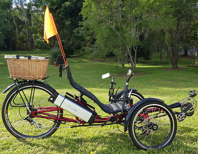 Recumbent Electric Trike, Mid Drive, Suspension, 8 speed, 5 level LCD PAS 16Ah