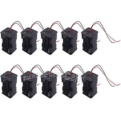 10pcs 4 AA Double Side 1.5V Battery Cells Holder Storage Case Box Wired US Stock