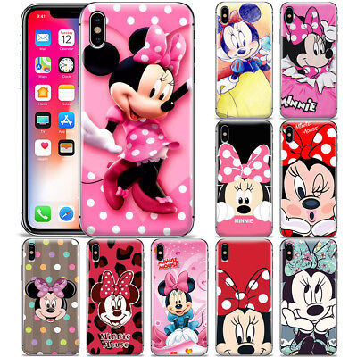 Disney Minnie Mouse Cartoon Patterned Phone Case Cover For Iphone X