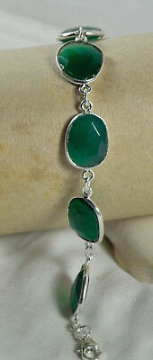 "EXQUISITE 7.5"" Link Chain Bracelet Green Onyx Gemstone In 925 Sterling Silver"