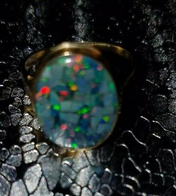 """14k 580 GOLD """"Antique"""" ECUADORIAN REAL MINED FIRE OPAL Ladies Ring!! BEAUTIFUL!!"""