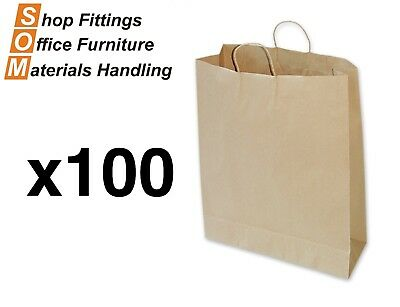 PAPER BAGS 100 PACK [Brown] [Size: Large] Shopping Carry Gift Bag With Handle