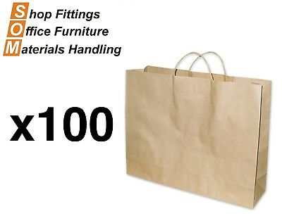 PAPER BAGS 100 PACK [Brown] [Size: Boutique] Shopping Carry Gift Bag With Handle