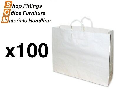 PAPER BAGS 100 PACK [White] [Size: Boutique] Shopping Carry Gift Bag With Handle