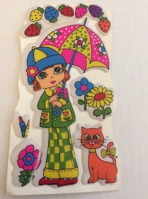 Rare Vintage Puffy Stickers- Large Size,Girl, Umbrella, Cat