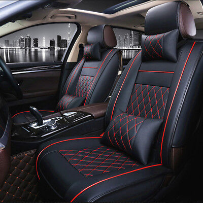 5 Seats Car Seat Cover PU Leather Front & Rear Interior Set with Headrest UK