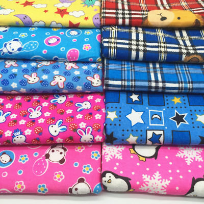 Cotton Brushed Flannel Fabric Cartoon Prints Flannelette Quilting Clothing Metre