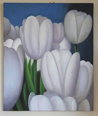 Gorgeous original oil painting on canvas Tulip flowers signed realism crocus