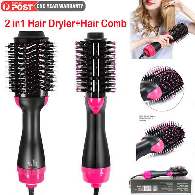 2in1 Hot Air Styler Curler Hair Dryer Styling Roll Hair Brush Comb Hairdryer AU