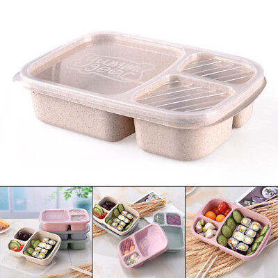 Lunch Box Container Portable 3 Compartment Meal Food Storage Eco-Friendly Microw