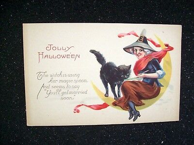 Stecher Original Vintage 1238-D Halloween Postcard Witch Black Cat On Moon #7
