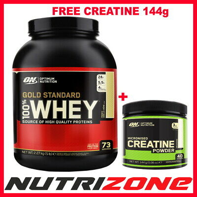 OPTIMUM NUTRITION ON 100% Gold Standard Whey Protein 2.27kg + FREE PRE WORKOUT