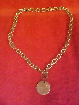 """Return to tiffany .925 Sterling  19""""chain toggle necklace with round.925 charm"""