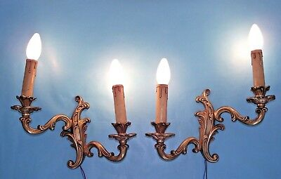 Lovely Pair French Antique Rococo Style Double Acanthus Leaf Wall Sconces 676
