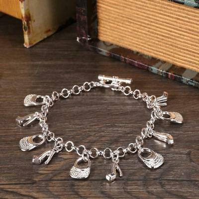 Beautiful Fashion Cute Nice Silver Plated Charms Shoe Women Bracelet Jewelry