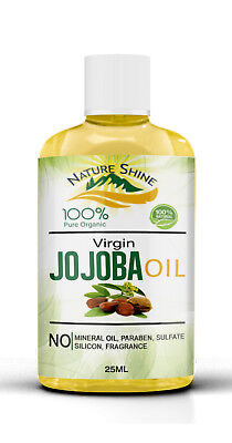 Nature Shine 100% Pure Golden Jojoba Oil Organic Cold pressed Hair & Skin 25ml