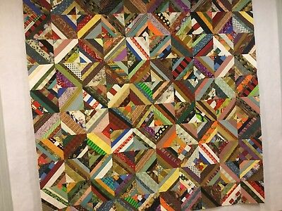 Foundation Pieced Scrap Quilt Top, New, Cotton, 60 X 60 Inches
