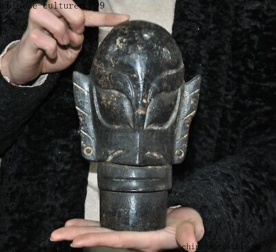 Chinese Meteorite iron carved Dynasty Palace Sanxingdui People Head Bust Statue