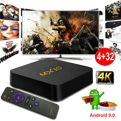 MX10 Android 9.0 Pie 4+32G Smart TV BOX Quad Core 4K Media MINI PC USB 3.0 WIFI