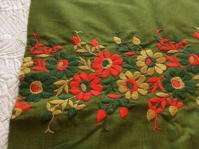 2 Yards Vintage Green Embroidered Mod Orange & Golden Yellow Floral Fabric