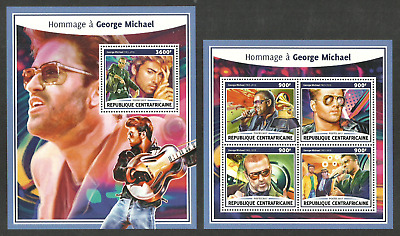 Central Africa 2017 Pop Rock Music George Michael Set Of 2 Sheets Mnh