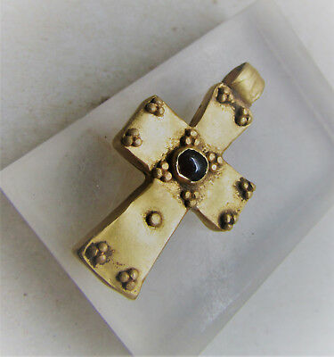 Scarce Ancient Byzantine Gold Crusaders Cross With Garnet Insert High Ct Gold