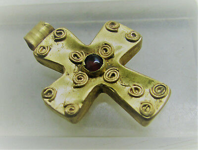 Beautiful Ancient Byzantine Gold Cross Amulet With Garnet Insert. High Ct Gold