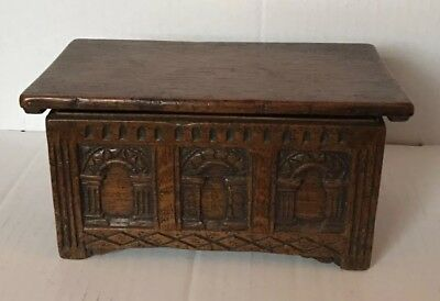Beautiful Vintage Oak Hand Carved Wooden Box Beautiful Quality