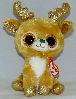 "2018 Holiday Ty Beanie Boos GLITZY the Reindeer 6"" size IN HAND Ships from USA"
