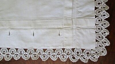 "pair antique percale pillow shams 33x28"" dbl row crochet lace trim, button plkt."