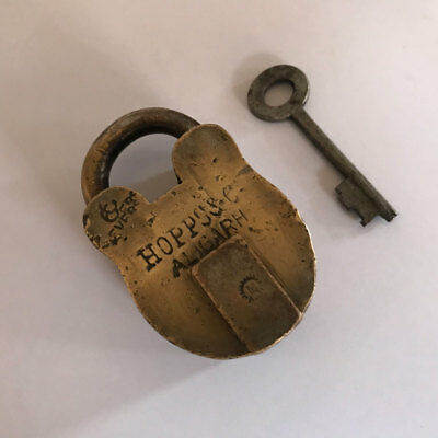(09). An old or antique solid brass padlock lock with key rich patina
