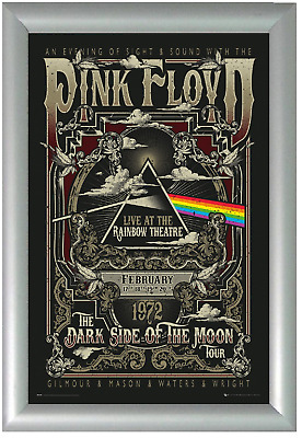 Framed Pink Floyd Dark Side Of The Moon Tour Gig Poster Rainbow Theatre 1972