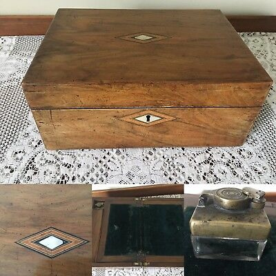 Victorian walnut writing slope with inkwell and mother of pearl detail, and key
