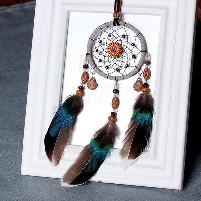 Handmade Lace Dream Catcher Feather Bead Hanging Decoration Manmade Ornament