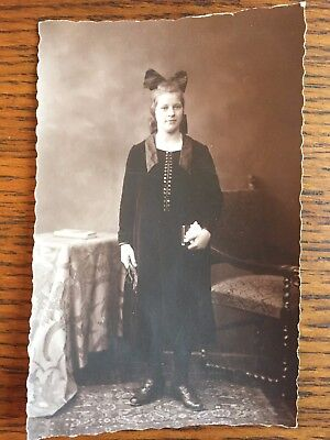 Antique 1920's German Rppc Real Photo Post Card Sepia Young Girl Confirmation