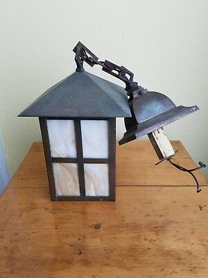 Vintage Antique Arts & Crafts Caramel Slag Brass Hanging Lantern w/Chain Fixture