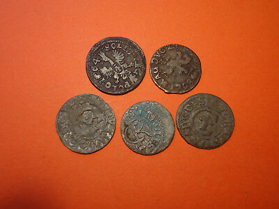 Lot of  5 Medieval Silver and Copper Coins. Livonia,Sweden, Poland & Lithuania.